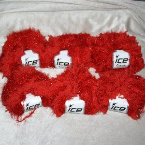6 skeins Red fuzzy ICE yarns